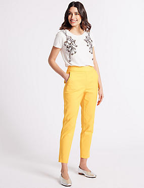 Cotton Blend Frill Pocket Trousers, SAFFRON, catlanding