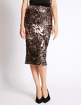 Sequin Midi Pencil Skirt, BRONZE, catlanding