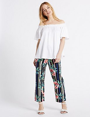 PETITE Striped Cropped Slim Leg Trousers, NAVY MIX, catlanding