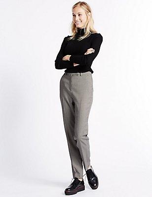 Strukturierte Hose mit schmalem Bein, GRAU MELANGE, catlanding