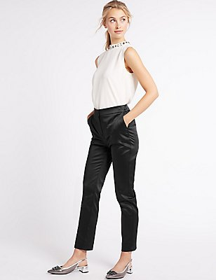 Slim Leg Trousers, BLACK, catlanding