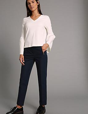 Pantalon coupe slim en coton, BLEU DE MINUIT, catlanding