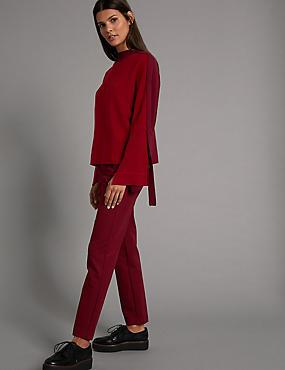 Pantalon coupe slim en coton, ROUGE BORDEAUX, catlanding