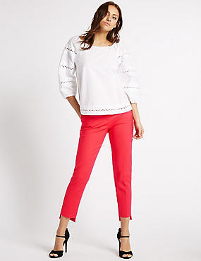 Cotton Blend Step Hem Slim Leg Trousers, RED, catlanding
