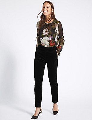 Pantalon slim en velours de coton , NOIR, catlanding