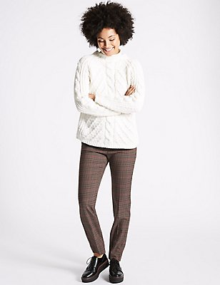 Checked Slim Leg Trousers, BROWN MIX, catlanding