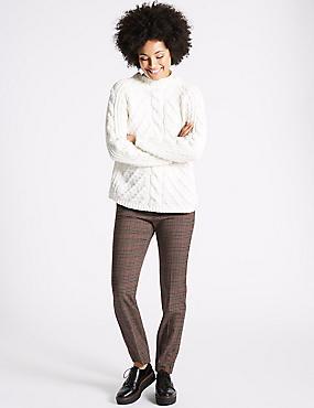 Checked Slim Leg Trousers, BROWN MIX, catlanding