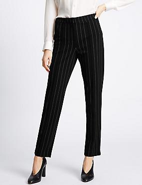 Striped Slim Leg Trousers, BLACK MIX, catlanding