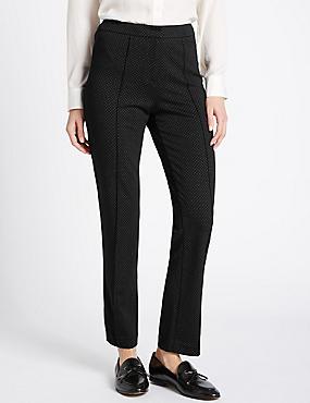 Spotted Slim Leg Flat Front Trousers, BLACK MIX, catlanding