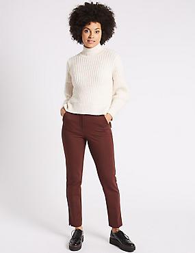 Slim Leg Trousers, RAISIN, catlanding