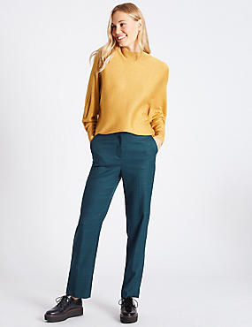 Checked Straight Leg Trousers, TEAL MIX, catlanding