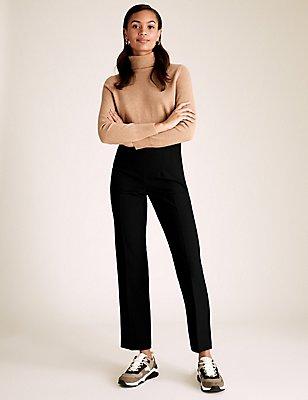 Standard Straight Leg Trousers, BLACK, catlanding