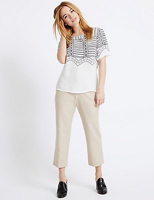PETITE Cotton Rich Slim Leg Trousers, STONE, catlanding