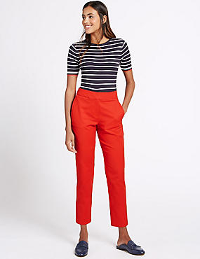 Cotton Rich Slim Leg Cropped 7/8th Trousers, RED, catlanding