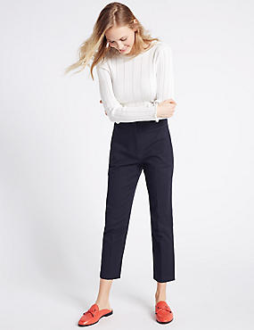 Cotton Rich Slim Leg Cropped 7/8th Trousers, NAVY, catlanding