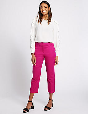 Cotton Rich Slim Leg Cropped 7/8th Trousers, FUCHSIA, catlanding
