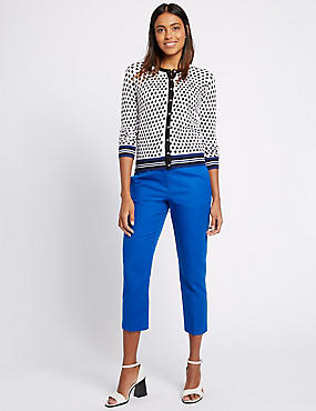 Cotton Rich Slim Leg Cropped 7/8th Trousers, RICH BLUE, catlanding