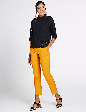 Cotton Rich Slim Leg Cropped 7/8th Trousers, OCHRE, catlanding