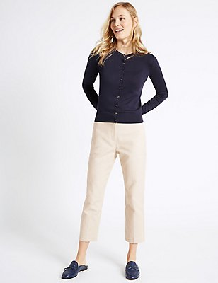 Cotton Rich Slim Leg Cropped Trousers, STONE, catlanding