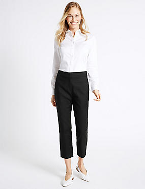 Cotton Rich Slim Leg Cropped 7/8th Trousers, BLACK, catlanding
