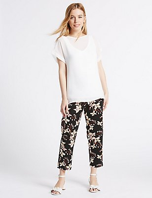PETITE Cropped Straight Leg Trousers, BLACK MIX, catlanding