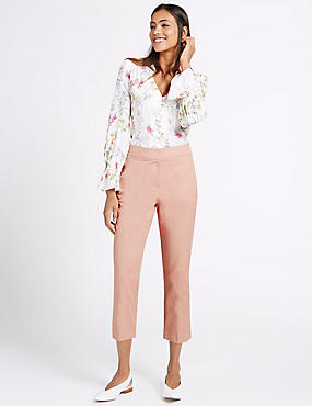 Cotton Rich Cropped Slim Leg Trousers, LIGHT PINK, catlanding
