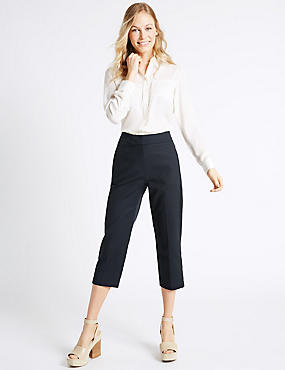 Cotton Rich Cropped Slim Leg Trousers, NAVY, catlanding