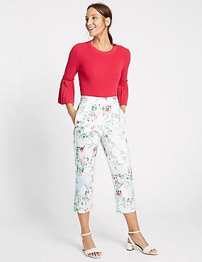 Floral Print Cropped Slim Leg Trousers, IVORY MIX, catlanding