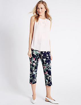 Floral Print Cropped Slim Leg Trousers, NAVY MIX, catlanding