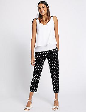 Cotton Rich Spotted Slim Leg Trousers, BLACK MIX, catlanding