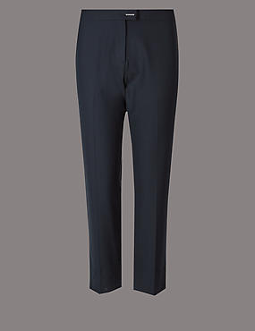 PLUS Wool Blend Slim Leg Trousers , NAVY, catlanding