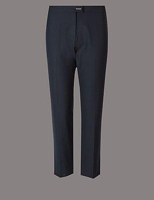 PETITE Wool & Silk Blend Trousers, NAVY, catlanding