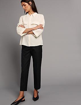 PETITE Wool & Silk Blend Trousers, BLACK, catlanding