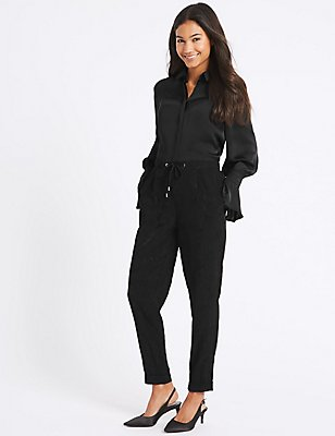 Jacquard Tapered Leg Trousers, BLACK, catlanding
