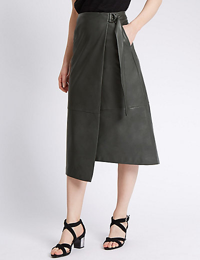 Faux Leather Wrap Midi Skirt | M&S