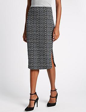 Checked A-Line Skirt, BLACK MIX, catlanding