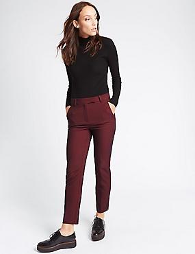 Pantalon slim en coton mélangé à motif texturé, BLEU MARINE ASSORTI, catlanding