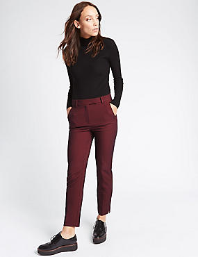 Cotton Blend Textured Slim Leg Trousers, NAVY MIX, catlanding