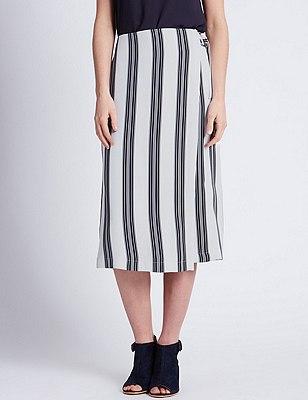 Ultimate D Ring Belted Striped A-Line Skirt, BLUE MIX, catlanding