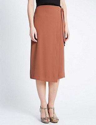 Waist Tie Wrap Asymmetrical Skirt, DARK TAN, catlanding