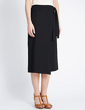 Waist Tie Wrap Asymmetrical Skirt, BLACK, catlanding