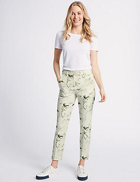 Cotton Blend Floral Print Trousers , MULTI/NEUTRAL, catlanding