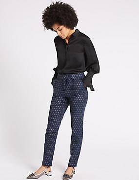 Metallic Jacquard Slim Leg Trousers, BLUE MIX, catlanding
