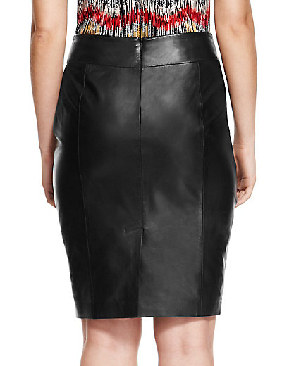 PETITE Leather Ponte Pencil Skirt | M&S