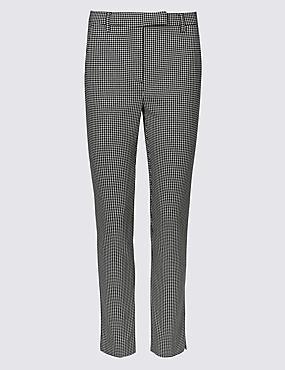 Cotton Rich Dogtooth Print Slim Leg Trousers, BLACK MIX, catlanding