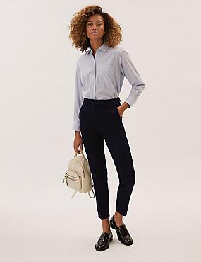 Cotton Blend Split Hem Trousers , DARK NAVY, catlanding