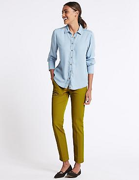 Cotton Blend Split Hem Trousers , , catlanding
