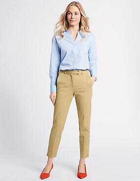 Cotton Blend Split Hem Trousers , TOFFEE, catlanding