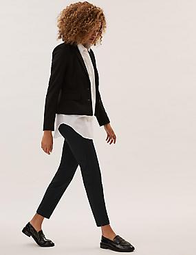 Cotton Blend Split Hem Trousers , BLACK, catlanding