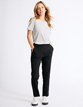 PETITE Striped Slim Leg Trousers , NAVY MIX, catlanding